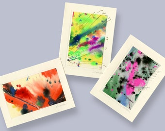 Art Abstraction Cards 1 -  Set of 3 Beautiful Original Hand Painted Abstract Blank Greeting Cards by Kathy Morton Stanion EBSQ
