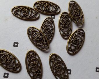 Antiqued Bronze Oval Filigree Link Connector (10)