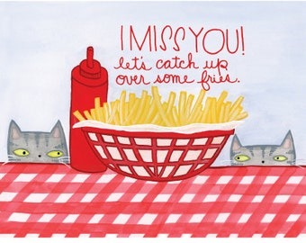 I Miss You! Cats and fries postcards