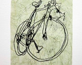 Bicycle Art Print - Classic Active Road Bike- Black on Chartreuse