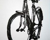 Bicycle Art Print - Classic Ladies Town Bike - Graphite on White