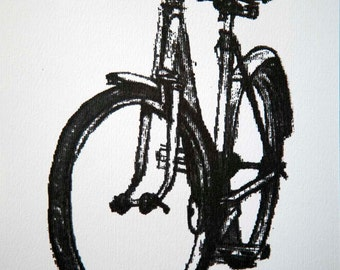 Bicycle Art Print - Classic Ladies Town Bike - Graphite on White
