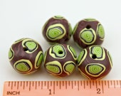 Purple and Green Set of Handmade Artisan Polymer Clay Beads in Eggplant Purple and Lime Retro Pattern