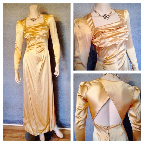 Old Hollywood Glamour, 1930s Diva Bias Cut Candlelight Satin Couture Evening Gown, Liquid Gold