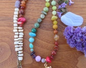 Long Rainbow Gemstone Beaded Necklace Amethyst Crystal Pendant- Colorful Bohemian Style - Boho Natural Gemstone - Gypsy - Brass Chain Shell
