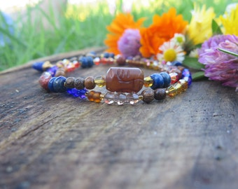 Gemstone Crystal Fall Inspired Double Wrap Bracelet - Choker - Red Cobalt Blue Brown - Boho Stone Jewelry - Bohemian Free Spirited Hamsa
