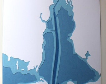 Mobile Bay - original 8 x 10 papercut art in your choice of color