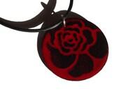 Handmade Large Copper Enamel Rose Petal Disc Necklace, Large Copper Enamel Circle Rose Flower Pattern Necklace, Black on True Red