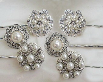 Bridesmaid Hair pins, Hair Accessories, wedding accessories, Crystal Bobby Pins, Wedding Hair clip, Bobby Pin set, Bridesmaid gift