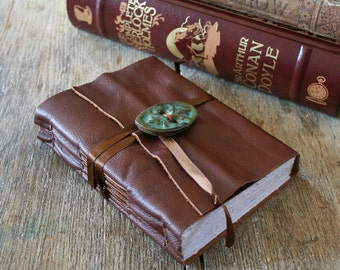"Leather Journal . ""The Road Not Taken"" - Robert Frost . handmade handbound . whiskey brown (320 pgs)"