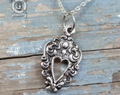 Open Heart Spoon Pendant - Inspired by Antique Silverware - Doctorgus Handmade Jewelry Creations - Boho Victorian Ornate Steampunk Necklace