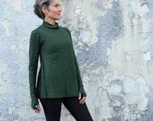 STRETCH Turtleneck Vented Wanderer Shirt (Med hemp/organic cotton STRETCH knit)