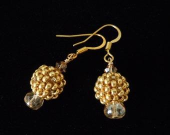 Gold Seed Bead, Peyote Stitch, Beaded Earrings, Gold Earrings, Seed Beads, Beaded Beads, Dangle, Drop, Glass Beads, Evening Jewelry