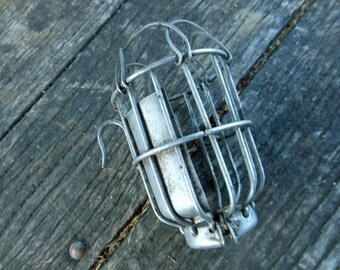 Vintage Industrial Trouble Light Cage – Steampunk – Industrial Chic – Safety Light Cage – Man Cave - Work Light Cage - Steam Punk Lighting