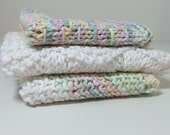 Handknitted Dishcloths - Pastels - Set of 3
