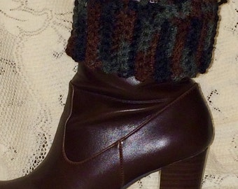 Women's Crocheted Boot Cuffs - Black Brown and Gray - Size Small
