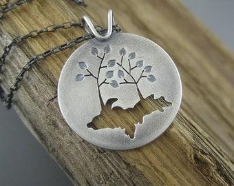 Handmade Upper Peninsula of Michigan Tree Couple Sterling Silver Pendant