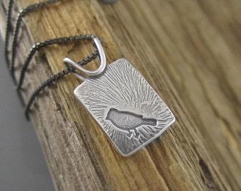 Handmade Fly Free Sterling Silver Bird Pendant