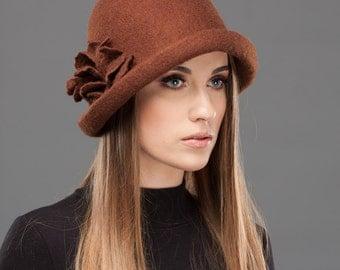 Cloche Felt Brown Hat Retro style Soft Wool Warm Headpiece