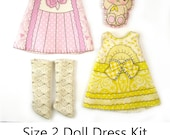 KIT Size 2: Doll Dress Clothing Kit Lavender & Lemon pattern for small dolls
