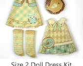 KIT Size 2: Doll Dress Clothing Kit Vintage Birds pattern for small dolls