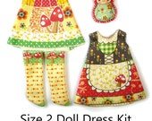 Pukipuki Dress KIT Size 2: Doll Dress Clothing Kit Gnome Time pattern for small dolls