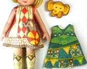 KIT Size 5: Doll Dress Clothing Kit Circus pattern for dolls