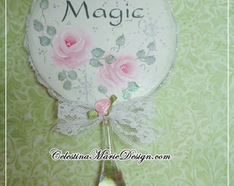 Round Paper Mache Christmas Ornament, Hand Painted with Roses and Stenciled Magic with Crystal Drop, ECS