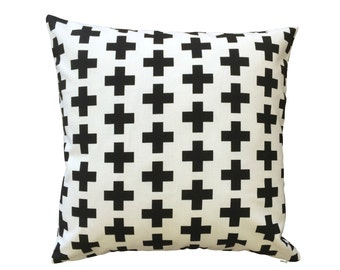Black and White Swiss Cross Cushion Cover