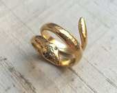 Diamonds in 14kt Gold Plated Bronze- The Wisdom of Snakes Ring