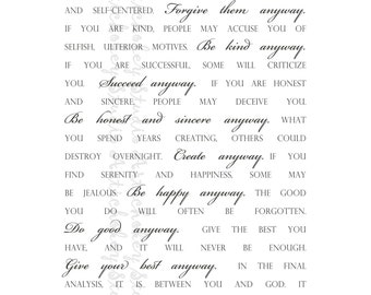 Do It Anyway - Instant Download Print for Canvas & Paper - White Background with Black Lettering