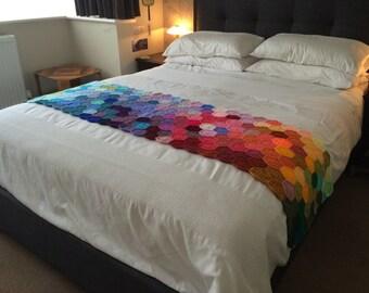 Rainbow Runner Crochet Blanket Afghan