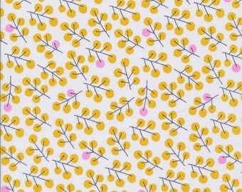 Berries Gold - Sweet Autumn Day - Cloud9 Fabrics - Organic Cotton - Little Cube - Fruit Nature Yellow Pink