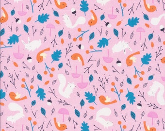 Forest Friends Pink - Sweet Autumn Day - Cloud9 Fabrics - Little Cube - Organic Cotton Quilting Fabric - Woodland Squirrel Fox Bird