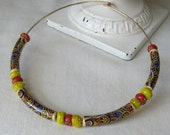 Beaded Choker Necklace 60s 70s Ethnic Choker Collar / Neck Ring