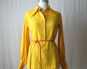 60s 70s Blouse Vintage Shirt Tunic Top Canary Yellow Blouse