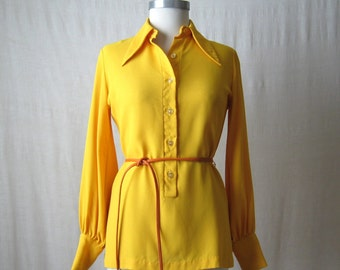 Yellow Blouse 60s 70s Tunic Top Vintage Shirt Womens Top