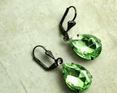 Peridot Rhinestone Drop Earrings