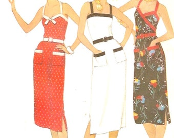 70s vintage Sundress vintage style resort wear sewing pattern Simplicity 6658 Pinup fashion UNCUT Sz 10 to 14