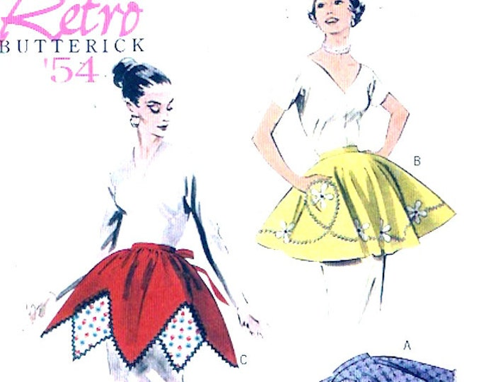 50s Retro apron 1954 reissue sewing pattern Butterick 5435 Size sm to LG 1950s mid century housewife bakers chef UNCUT