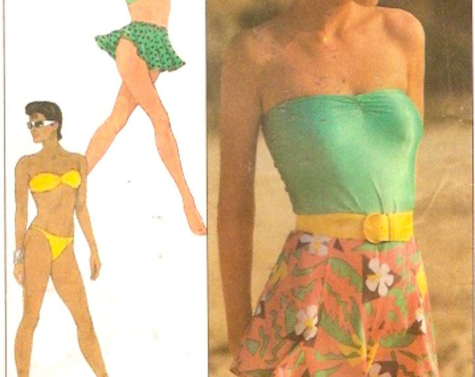 Vintage bikini swimsuit bathing suit Tube top pull on shorts skirt sewing pattern Simplicity 8558 Sherry Holt design Sz 10 to 14 UNCUT