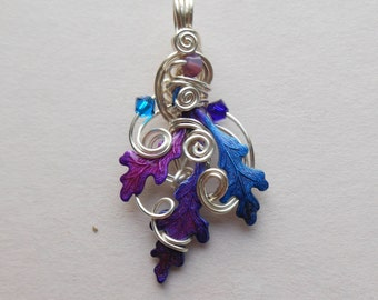 Fairy Oak Leaves Pendant -- Silver Wire, Pink, Purple, Blue Oak Leaves, Swarovski Crystals -- Enchanted Oak Leaves -- Hand colored brass