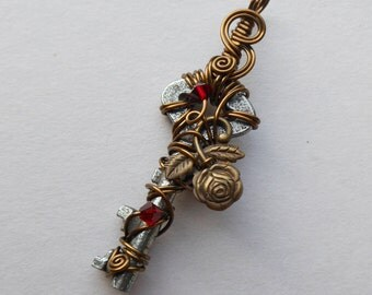 Rose Key Pendant -- Brass Rose Wire Wrapped Key Pendant with Red Swarovski Crystals