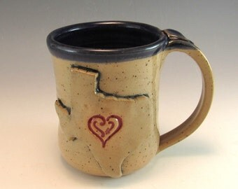 Hand Made Love Texas Heart Mug/Pottery Texas Mug/Ceramic Texas Cup/I love Texas  Mug/ Lone Star State Pottery Mug