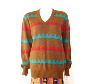 Vintage Made in Italy Sweater// Brown Retro Wool Acrylic Pullover // 119