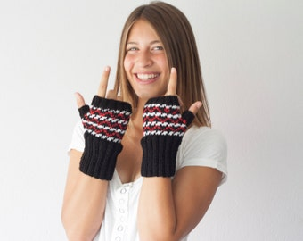 Fingerless gloves white black and red knit wrist warmers texting gloves hand warmers mittens hand knit mitts half gloves