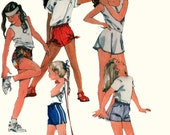 1980s Girls Wrap or Drawstring Shorts McCalls 8533 Vintage 80s Sewing Pattern Size Small 6-7 UNCUT