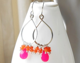 Hot pink and Orange Silver Gemstone Earrings, Sterling Silver Pink Chalcedony, Carnelian Bright Dangle Earrings