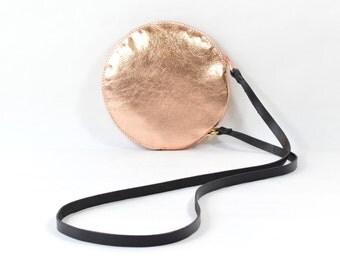 Gemini - Handmade Copper Leather Round Shoulder Bag Zip Pouch Purse SC16