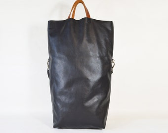 Nicole - Handmade Oversized Charcoal Grey Leather Tote Bag AW15